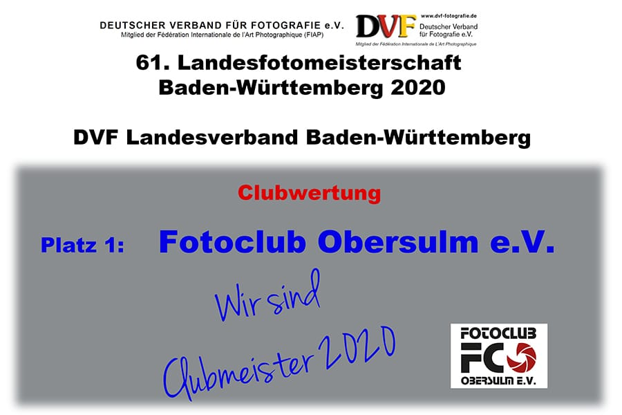 Landesfotomeisterschaft – Fotoclub Obersulm ist Clubmeister Baden-Württemberg 2020